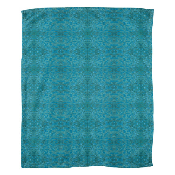 Green Paisley Enhanced Design - Fleece Blankets