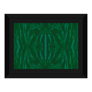 Green Burst Design - Framed Canvas