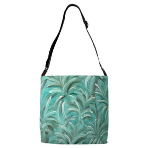 Green Burst Swirl Design - Adjustable Strap Totes