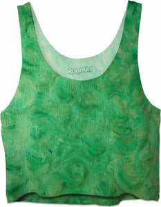 Green Gold Swirl Design - Crop Tops