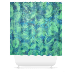Green Paisley Design - Shower Curtains