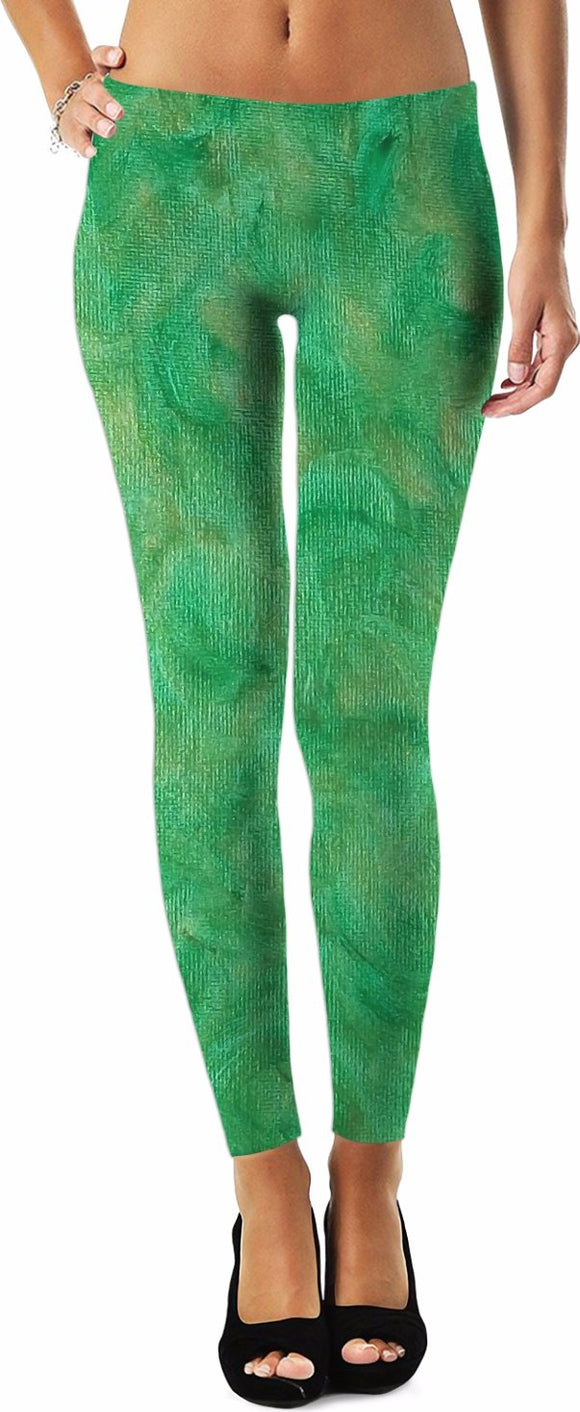 Green Gold Swirl Design - Leggings