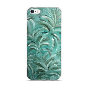 iPhone 5/5s/Se, 6/6s, 6/6s Plus Phone Case - Green Burst Swirl Design