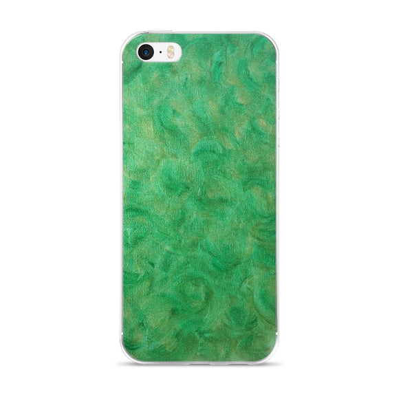 iPhone 5/5s/Se, 6/6s, 6/6s Plus Phone Case - Green Gold Swirl Design