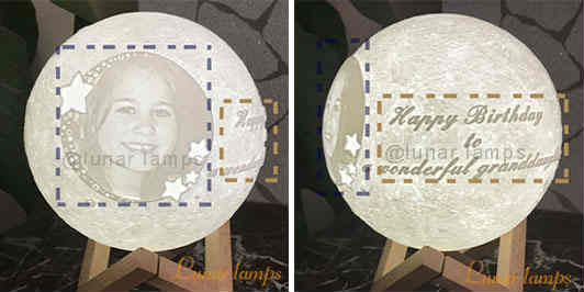 Customize Moon Lamp picture on the left OR right of the Text