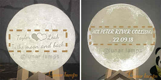 Customize Moon Lamp text on the front side OR on back side