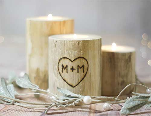 Personalized rustic candle holders