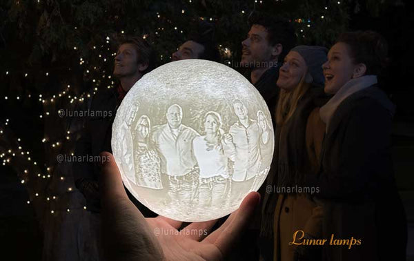 beautiful pictures of your family on moon lamp