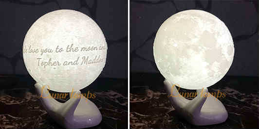 Customize Moon Lamp picture above OR  below the Text