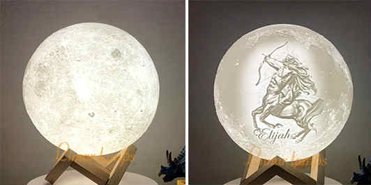 Customize Moon Lamp picture on the front side OR on back side