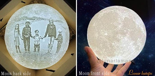 customized moon lamp photo on back