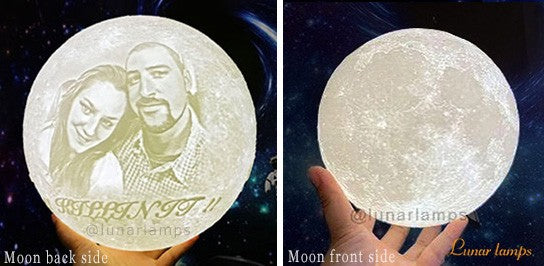 customized moon lamp photo on back text below picture