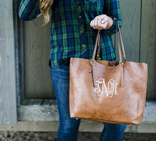 monogrammed leather bags