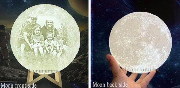 customized moon lamp with picture on the front side