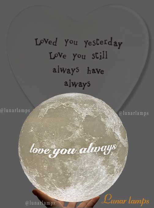 text moon lamp love you always