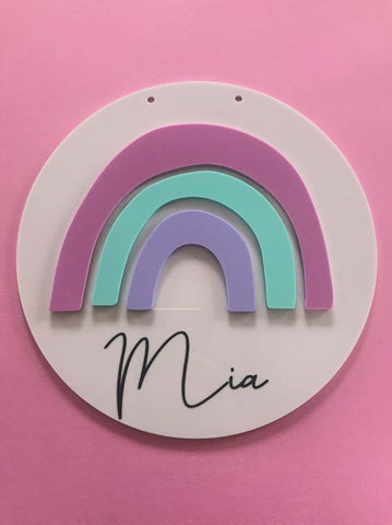 Personalised Acrylic Rainbow Sign.