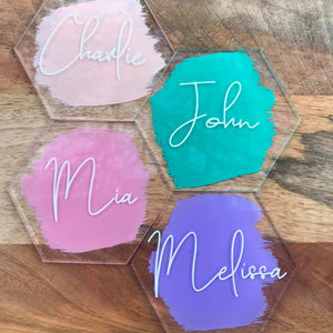Personalised Acrylic Hexagon Name Placements.