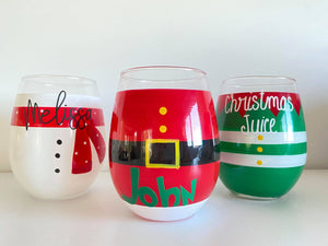 Personalised Christmas Stemless Wine glasses