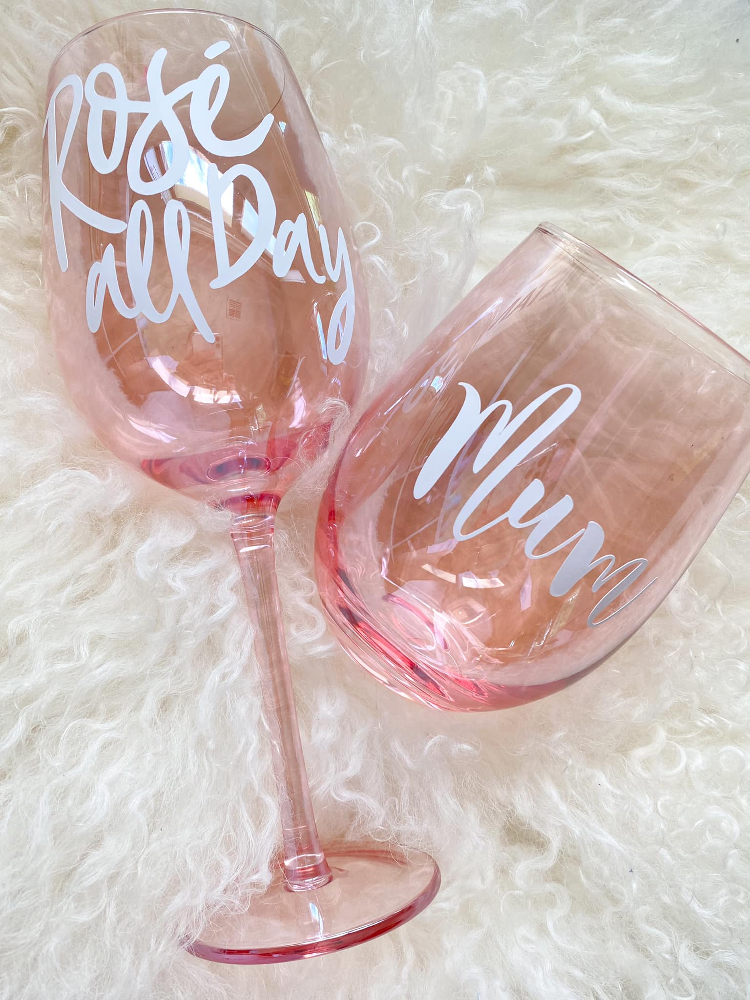Personalised Pink Iridescent Wine Glass