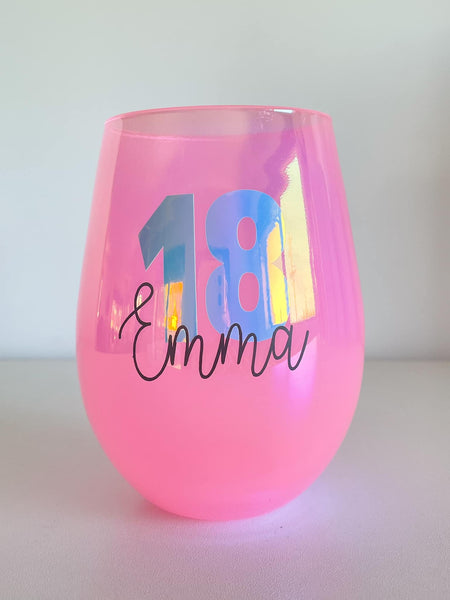 Personalised Bright Stemless Wine Glass