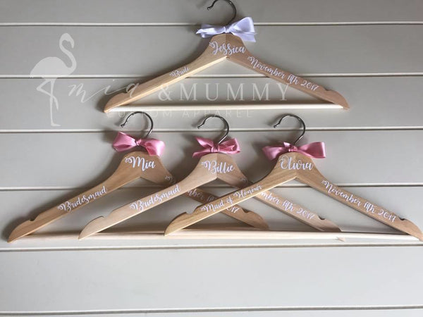 Bridal Party Coat Hangers-White Font