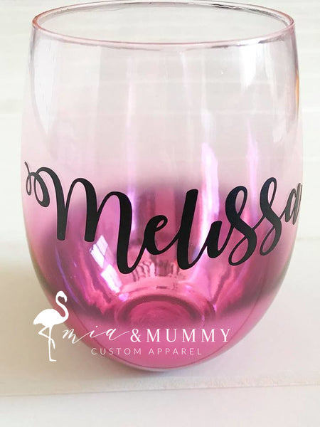 Personalised Pink Ombre  Wine glass
