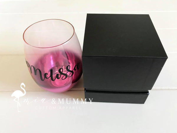 Personalisd Matte Burgundy Stemless Wine Glass