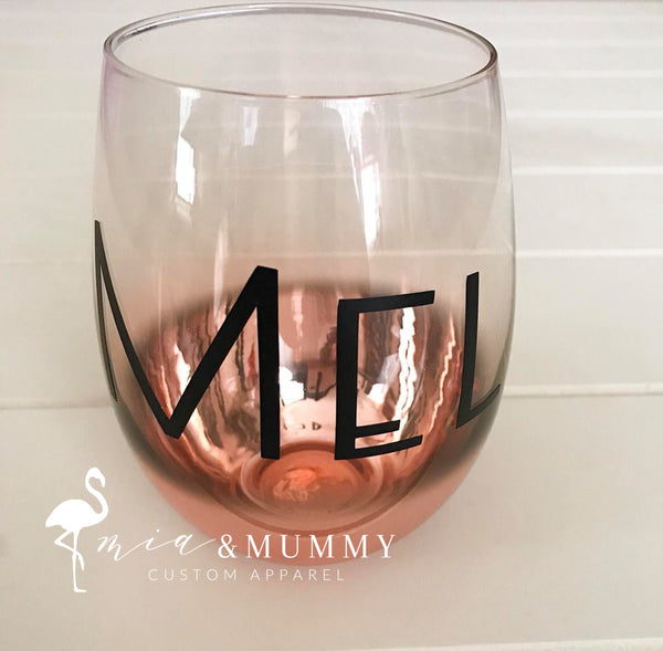 Personalised Rose Gold Ombre Stemless Glass