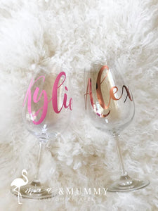 Personalised Wine Glass-Magnolia Style