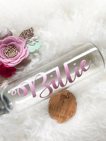 Personalised 500ml Glass Water Bottle- Gingham Pink