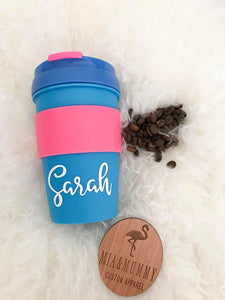Personalised Blue and Pink Coffee Travel Cup