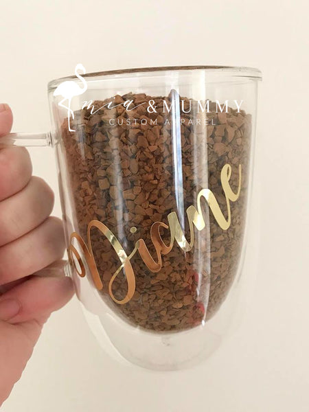 Personalised Double Wall Glass Mug