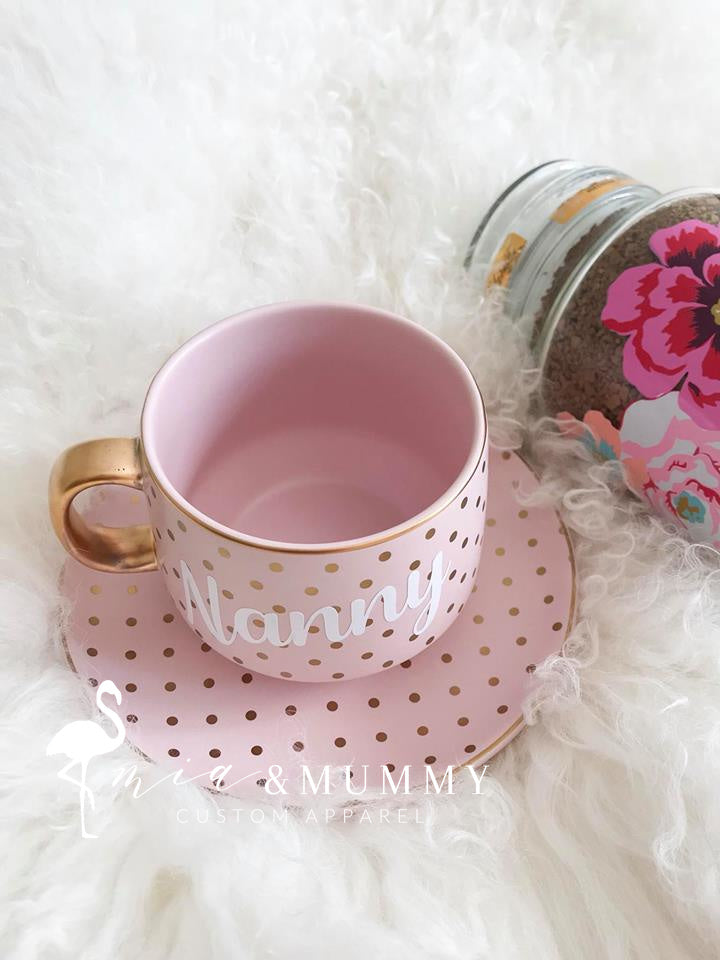 LIMITED EDITION: Personalised Pink and Gold Polka Dot Mug and Saucer