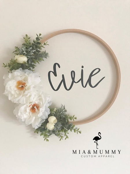 Floral Wreath with a Personalised Wall Decal.