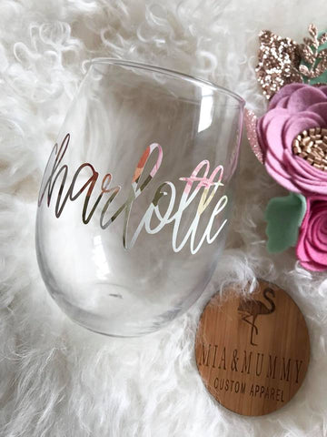 Personalised Floral Stemless Wine Glass
