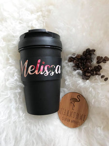 Personalised Floral Travel Cup