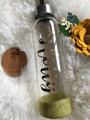 Personalised Glass Bottle With Glitter