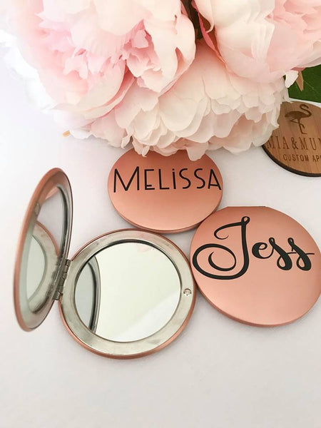 Personalised Rose Gold Compact Mirror With A Swarovski Crystal