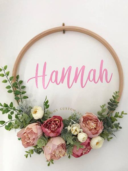 Pink Floral Wreath with a Personalised Wall Decal.
