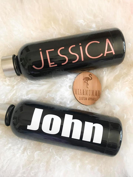 Personalised Black Double Wall Drink Bottle