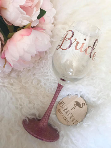 Personalised Glitter Wine Glass