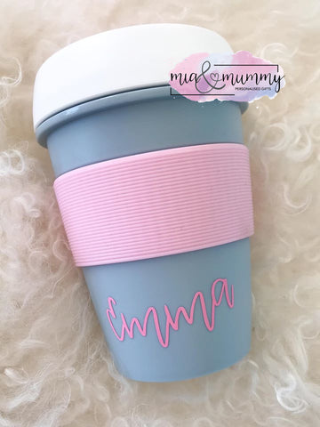 Personalised Grey/Pink Travel Cup