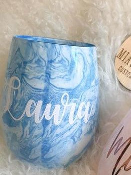 Personalised Blue/Pink Marble Wine Tumbler