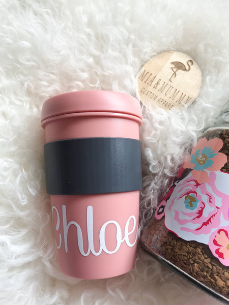 Personalised Peach Travel Cup.