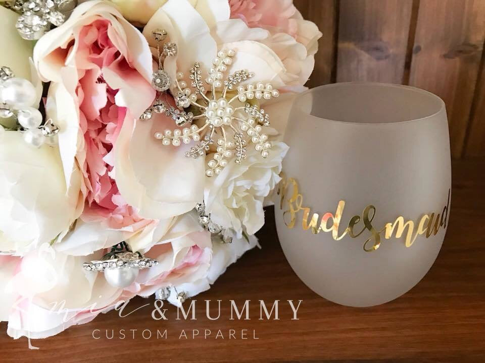 Bridal Stemless Wine Glasses