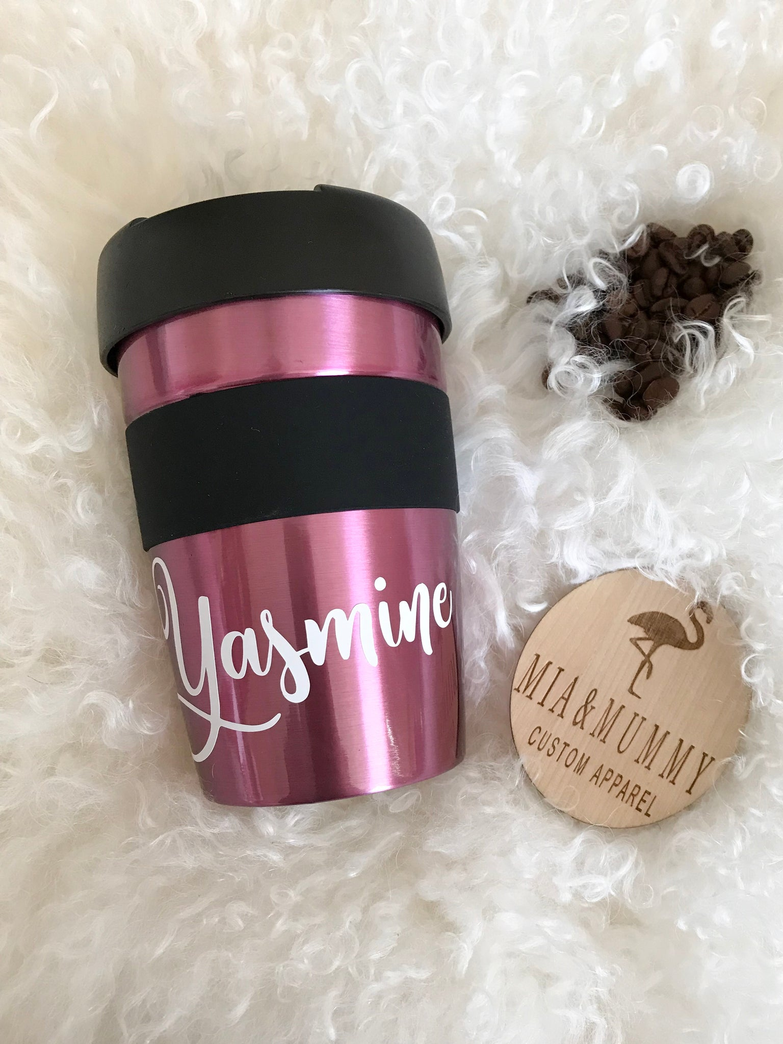 Personalised Metallic Pink Travel Cup