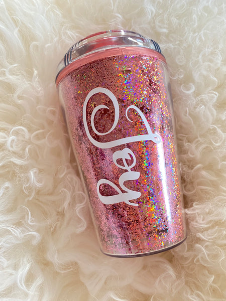 Personalised Travel Cup Glitter Pink