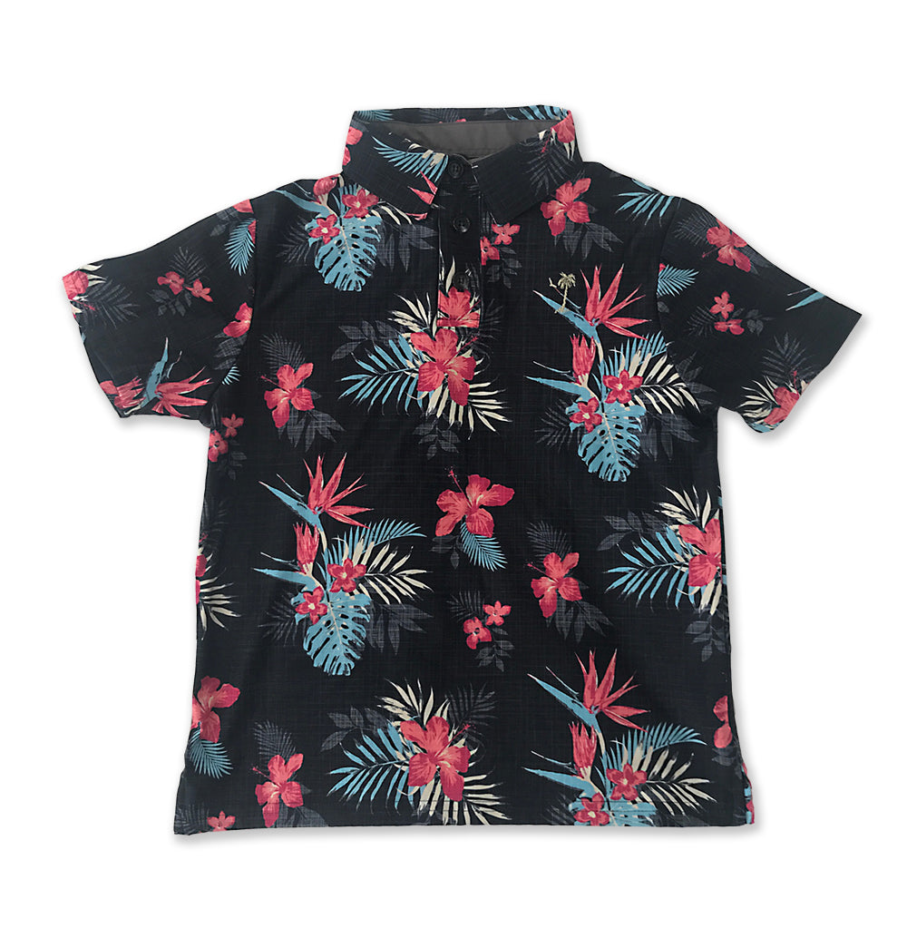 Black Aloha Youth Polo