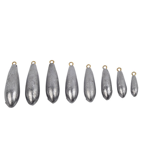 Various Size Teardrop Lead Sinkers side by side for comparison