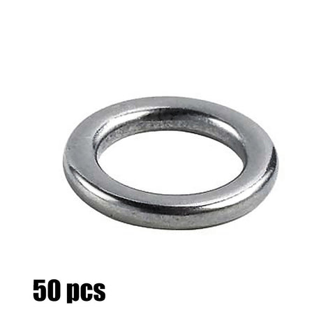 Heavy-Duty Stainless Steel Rings (7 Size Options) - 50 Pack